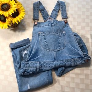 Zara Trafaluc Distressed Overalls Small